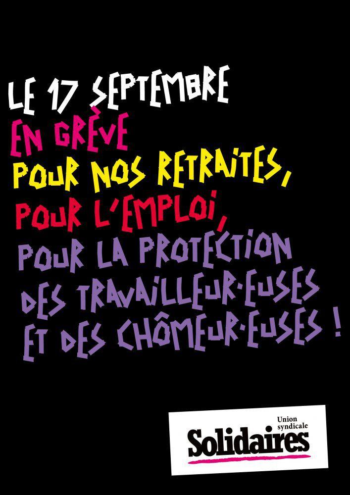 Le 17 septembre, grève et manifestation !