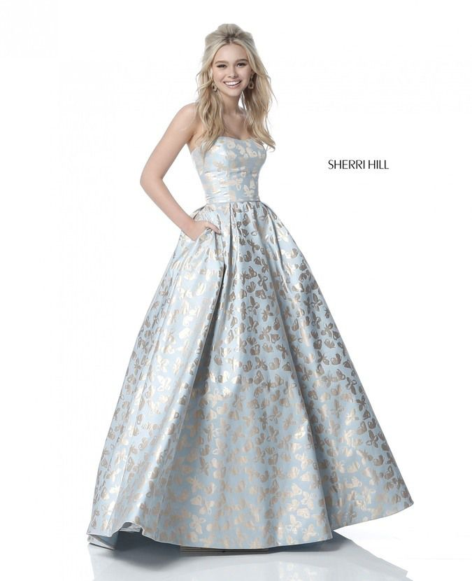 75c7e4342e0 ... Sherri Hill 51597 Long Fitted Prom Dress. Shown in  Light Blue Gold  Back Style  Back Zipper Length  Long