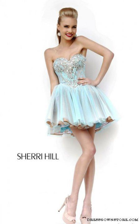 Short Aqua Nude Sherri Hill 21156 Lace Prom Dress