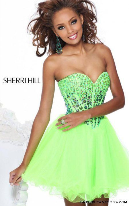 Sweetheart Sherri Hill 21101 Lime Short Prom Dress