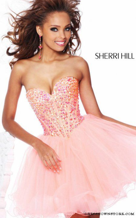Sweetheart Sherri Hill 21101 Short Coral Prom Dress