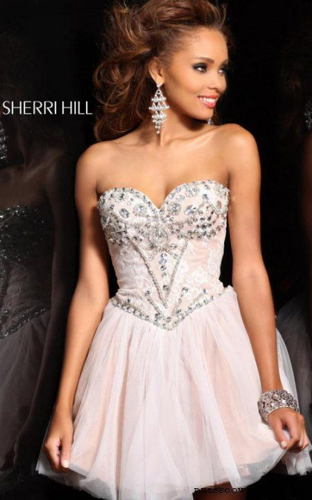 Ivory Silver Short Sherri Hill 21156 Lace Prom Dress