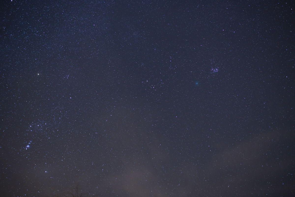 Mêmes conditions, avec un léger décalage à gauche qui laisse voir ORION et la nébuleuse M42