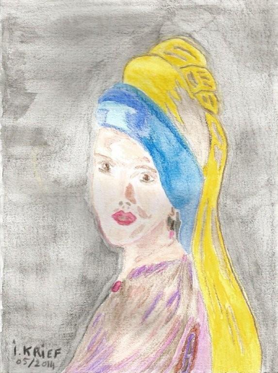 carte postale d'art reproduction aquarelle, la jeune fille de wermer, femme, robe mauve, parme, marron, grise, turban, foulard jaune, bleu, visage souriant, rouge à lèvre, fond gris, la jeune fille de wermer, oeuvred'isabelle krief