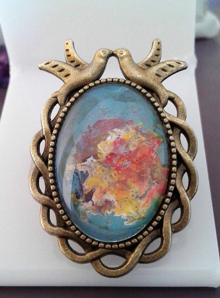 peint, par artiste, oiseaux amoureux, bague, bronze antik, ajustable, cabochon ovale,18x25 mm,bleu, orange,rose, jaune, blanc, vert, mauve