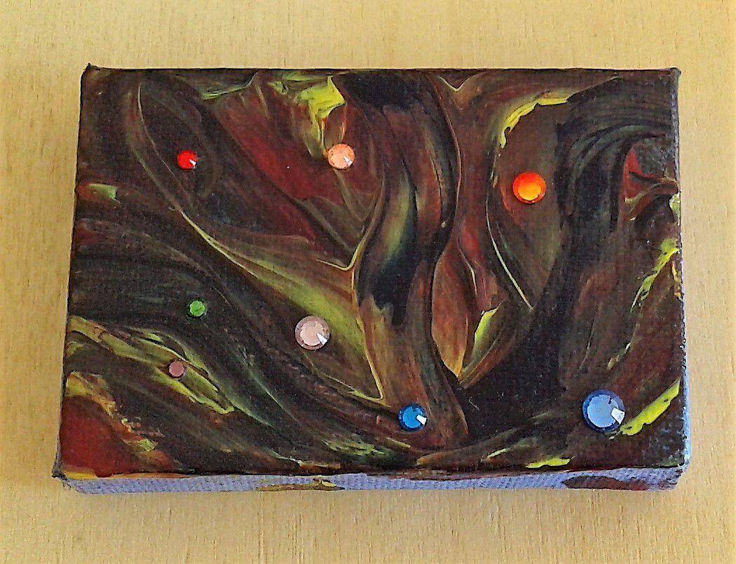 forêt magique,Mini tableau mixte,5x7cm,acrylique et cristal swarovski,peint, lucioles, elfes, arbres, vent, nuit, fantastique, feerique, par artiste, signe, original, ikrief