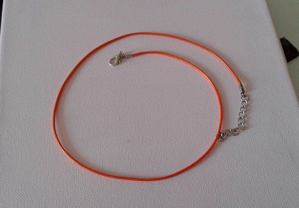 45cm,extension 5 cm,cordon coton ciré 2mm,orange,fermoir,mousqueton,diy bijou,fourniture bricolage,mercerie