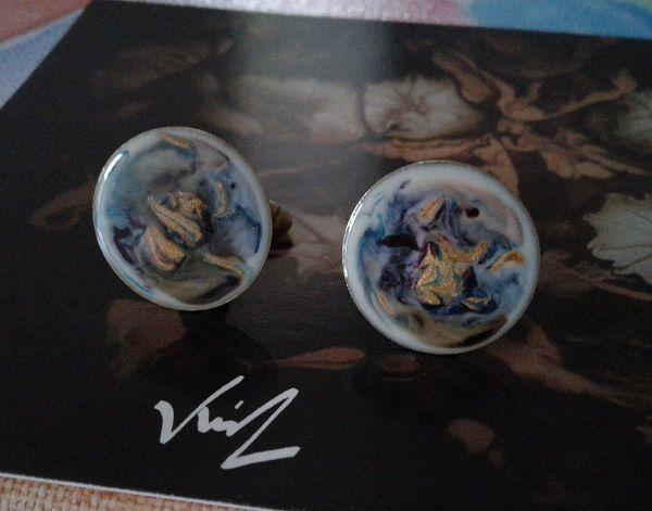 Peintspar artiste,boutons manchette ronds 20 mm bronze,art nouveau abstrait fantastique,blanc bleu or marron rose,fait mains en france,boheme gothique,accessoire homme unisexe