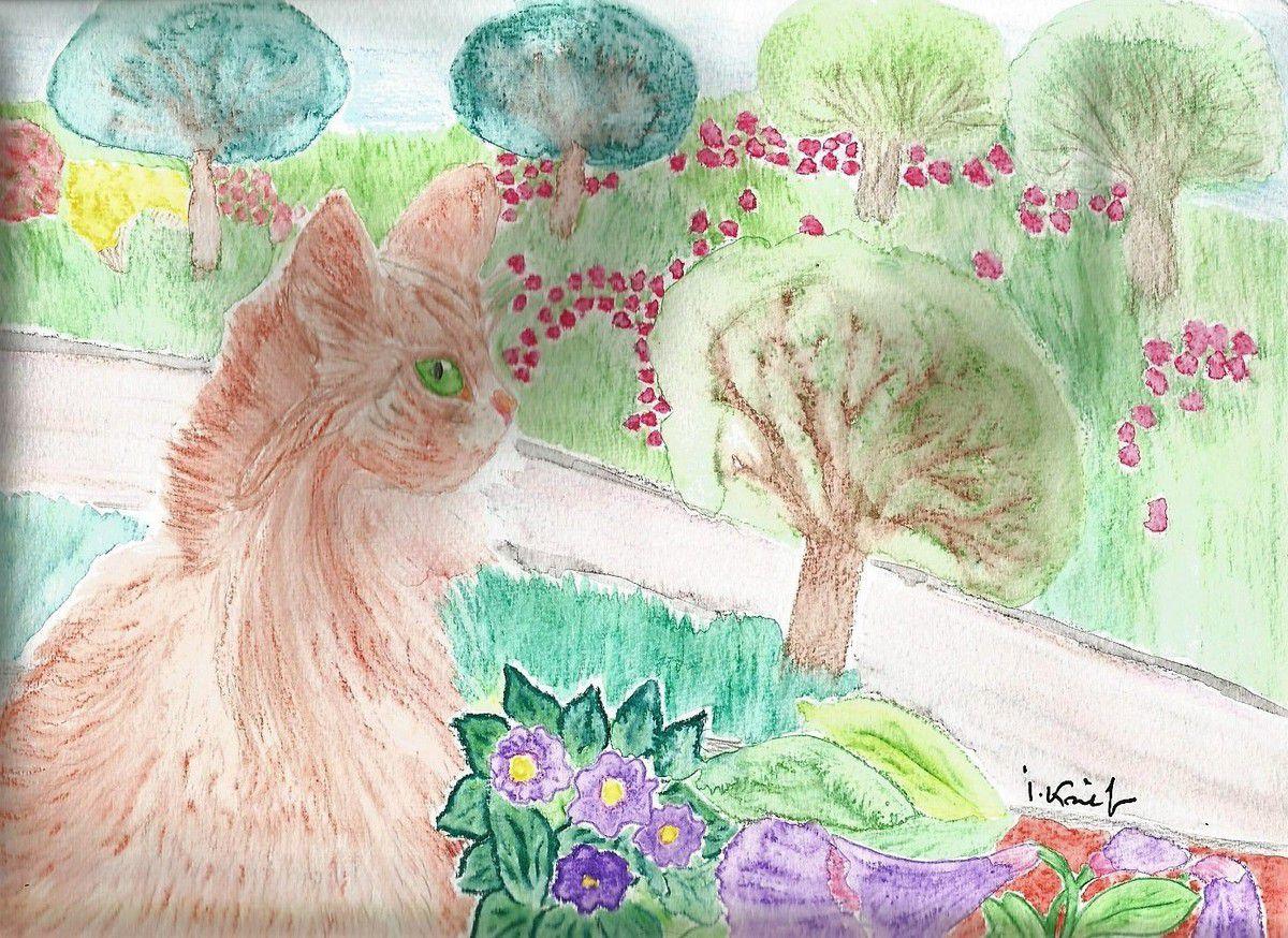 Le chat roux à la fenêtre, il observe les arbres verts et marrons,les fleurs roses,jaune,violet,le beau ciel bleu, aquarelle 24x32 cm d'isabelle krief, sur papier spécial