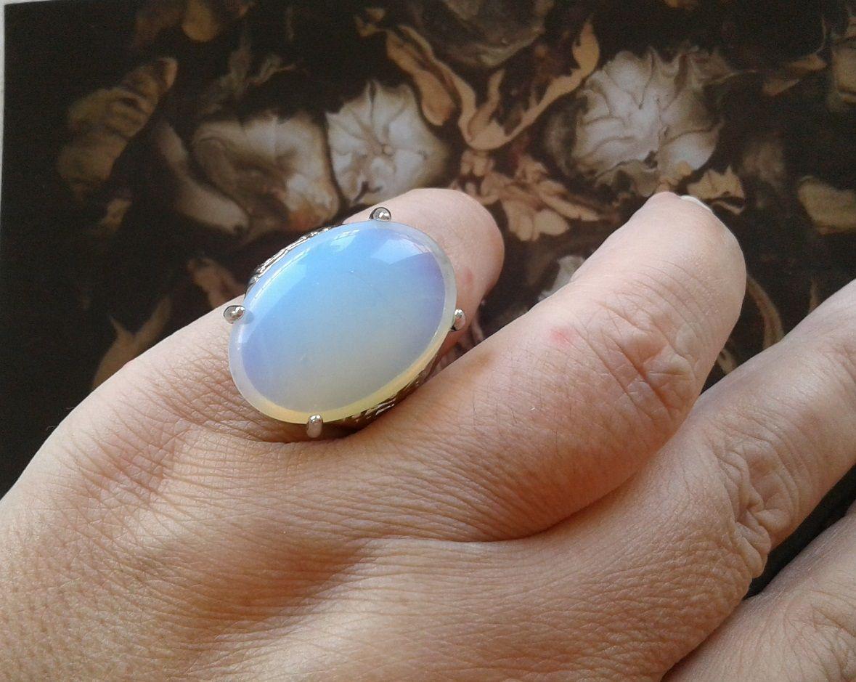 taille54,bague argente tibetain,pierre gemme semi precieuse,opale,cabochon oval 18x25mm,bijou gothique boheme,bijou femme homme unisex,cadeau fete anniversaire,baguier gratuit,bijou pas cher