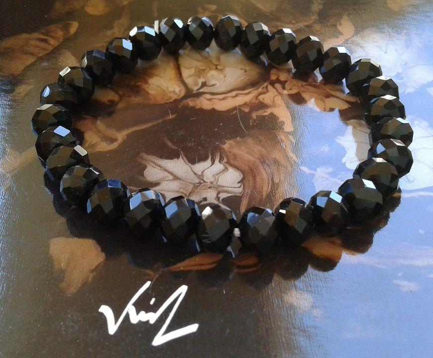 Bracelet cristal swarovski noir,18cm,perles rondes 8mm,semi plates et facetées,edouardien victorien western,bijou femme unisex,cadeau fete anniversaire noel,cordon elastiqué,facile à mettre,gothique boheme rococo,baroque art deco contemporain,fait mains en france
