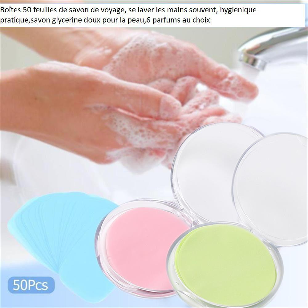50 feuilles de savon, violet parfum lavande,dans une jolie boîte ronde,se laver les mains en toute occasion,savon de voyage,savon de poche,hygiène propreté anti bactérien
