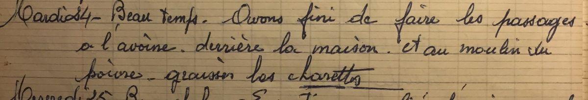 Mardi 24 juillet 1956 : préparer la moisson de l'avoine