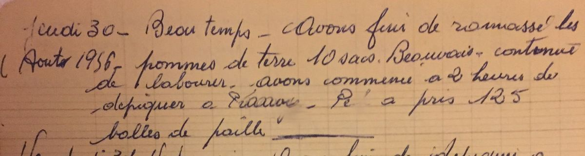 Jeudi 30 août 1956 - vendre des balles de paille