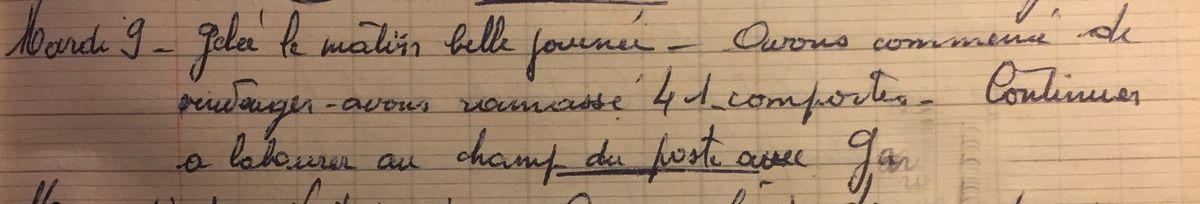 Mardi 9 octobre 1956 - Froides vendanges