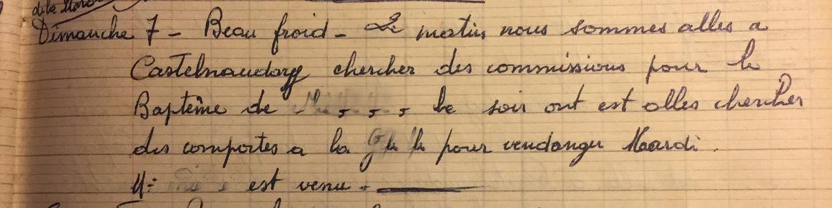 Dimanche 7 octobre 1956 - Préparer baptême et vendanges