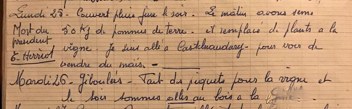 Lundi 25 et mardi 26 mars 1957 - La mort de Edouard Herriot