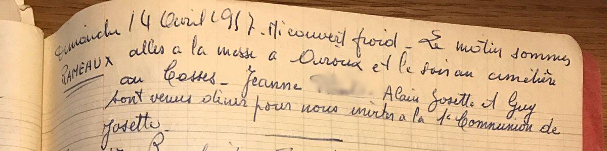 Dimanche 14 avril 1957 - Une invitation
