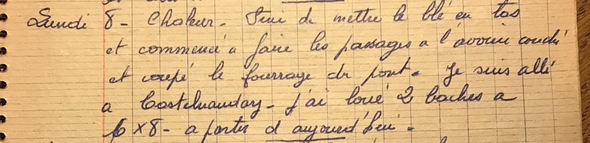 Lundi 8 juillet 1957 - Mettre le blé en tas