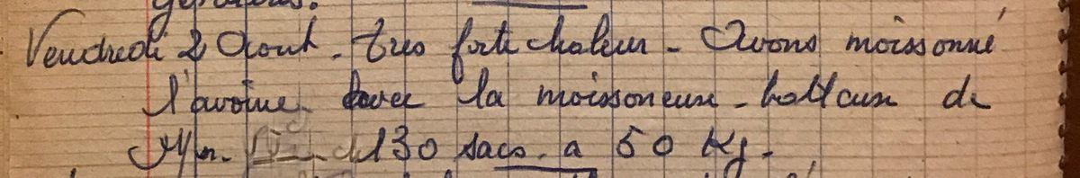 Vendredi 2 août 1957 - Moissoner de l'avoine