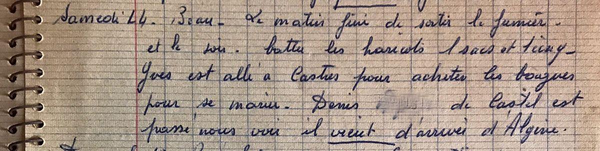 Samedi 14 septembre 1957 - Des noces se préparent / Un retour d'Algérie