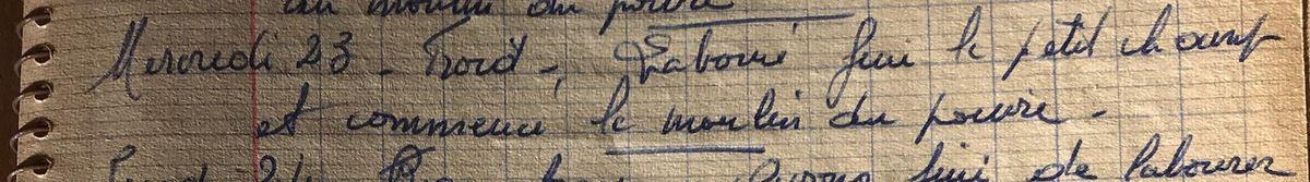 Mercredi 23 octobre 1957 - Au moulin du poivre