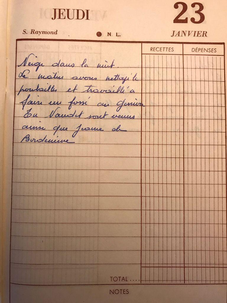 Jeudi 23 janvier 1958 - Entre fossé et poulailler