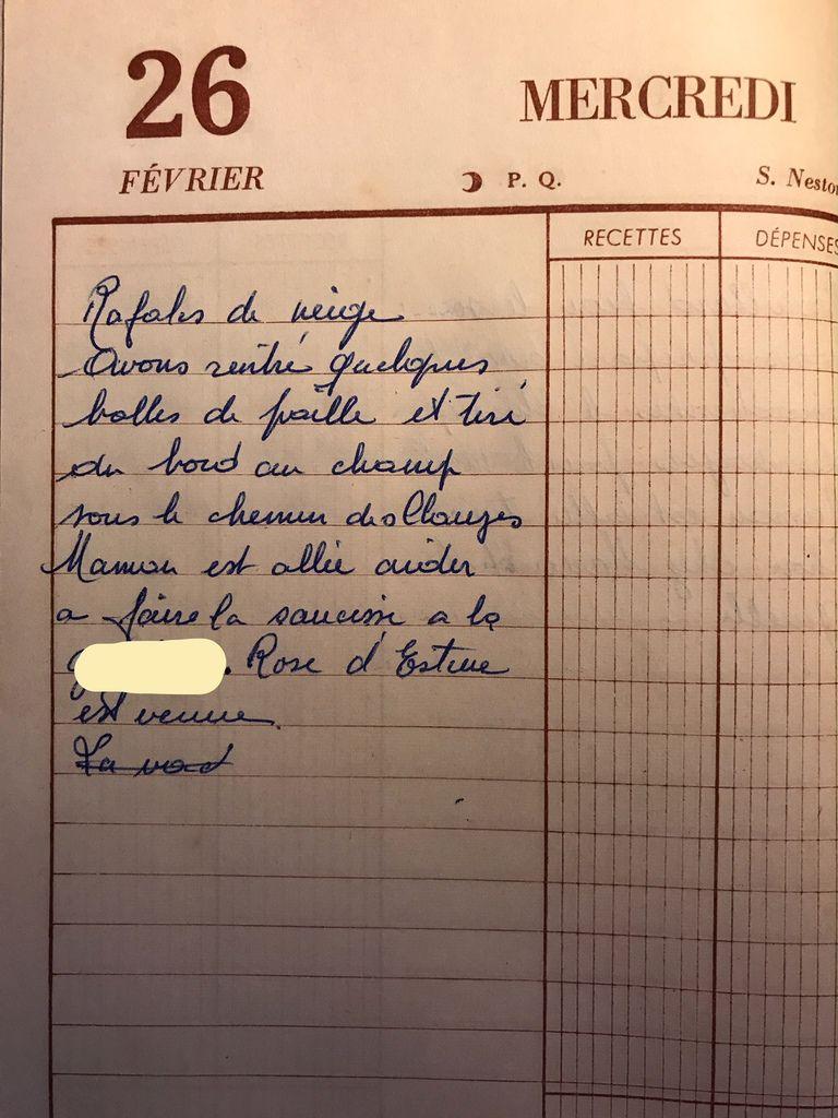Mercredi 26 février 1958 - De la neige au programme