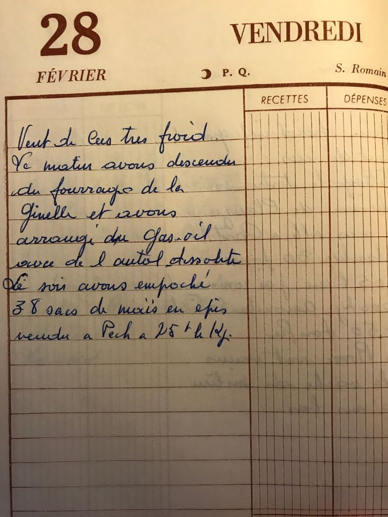 Vendredi 28 février 1958 - arranger du gasoil