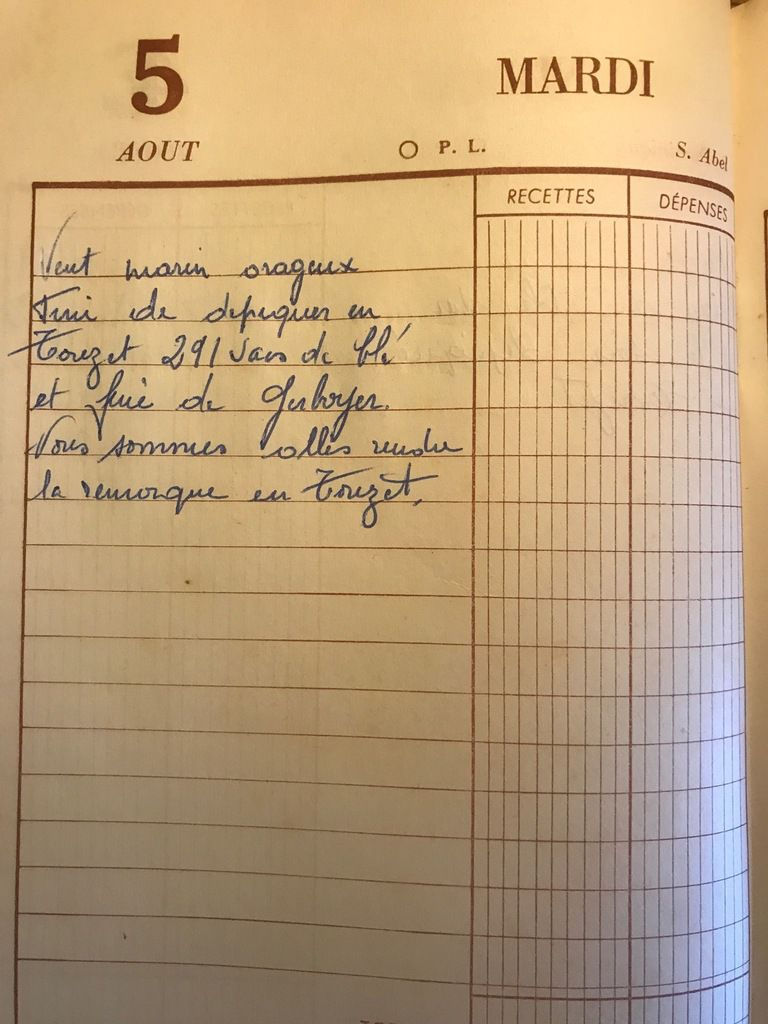 Mardi 5 août 1958 - 291 sacs de blé