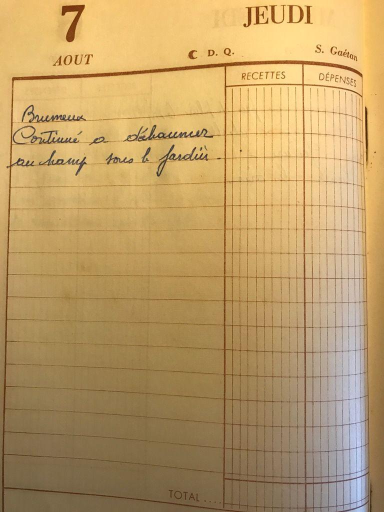 Jeudi 7 août 1958 - Déchaumer sous le jardin