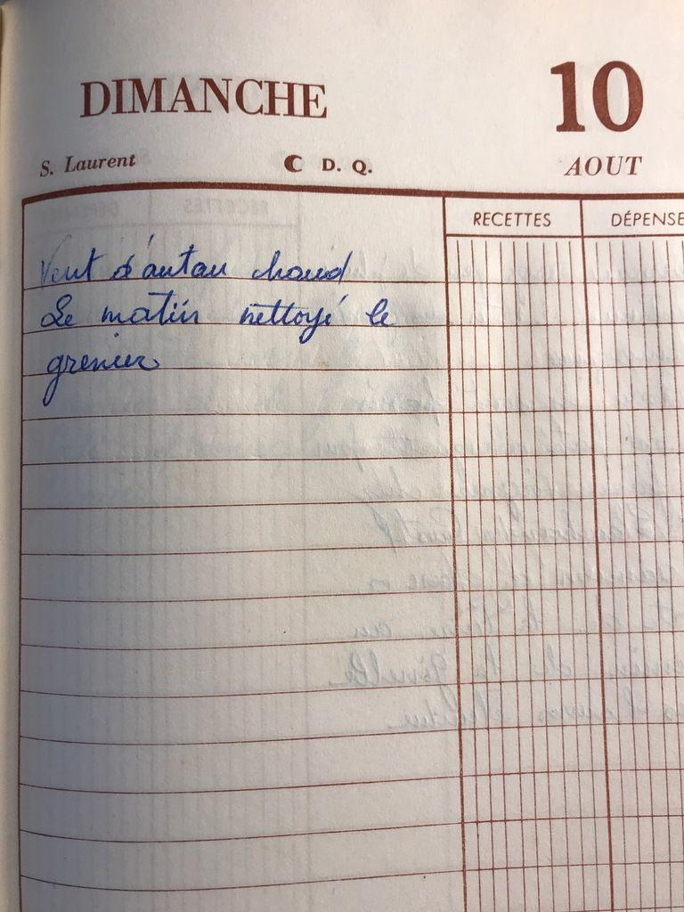 Dimanche 10 août 1958 - S'occuper du grenier