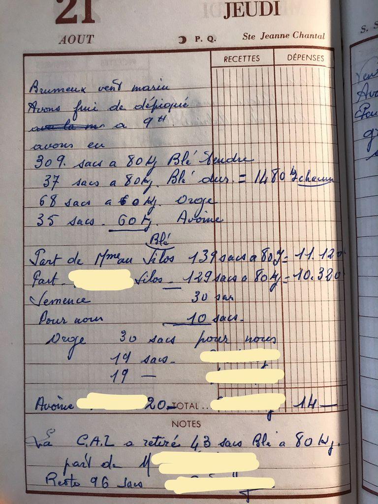 Jeudi 21 août 1958 - Partager les sacs de blé avec les propriétaires