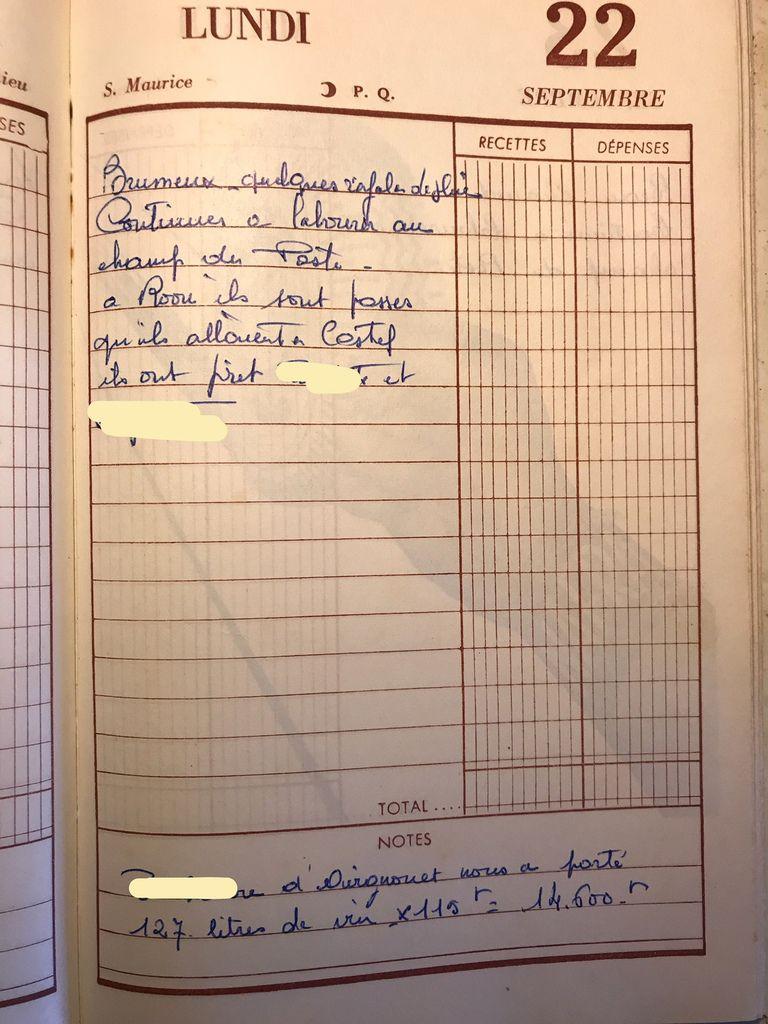 Lundi 22 septembre 1958 - la livraison de vin