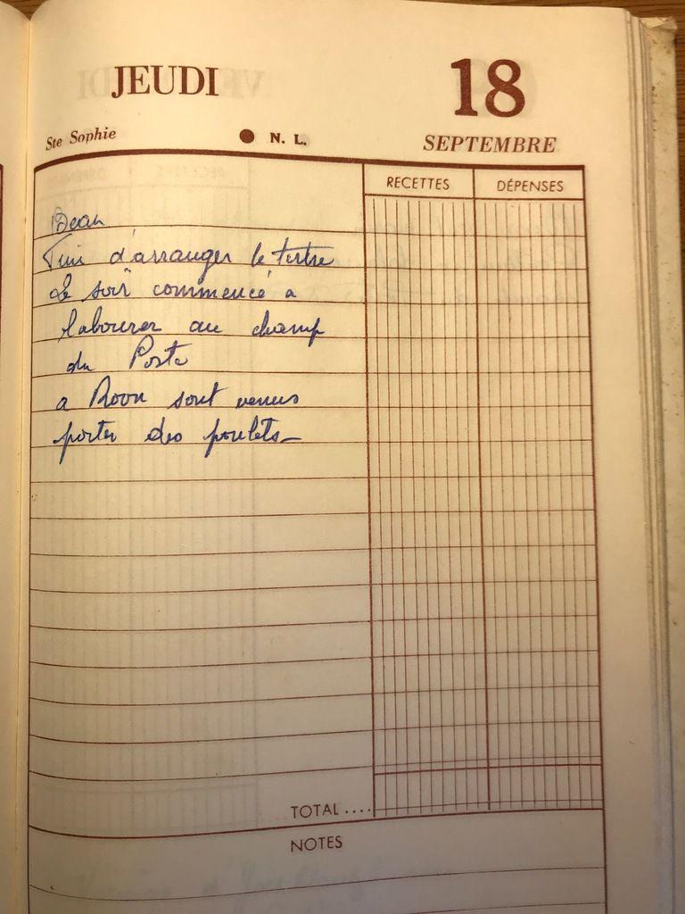 Jeudi 18 septembre 1958 - Labourer le champ du Poste
