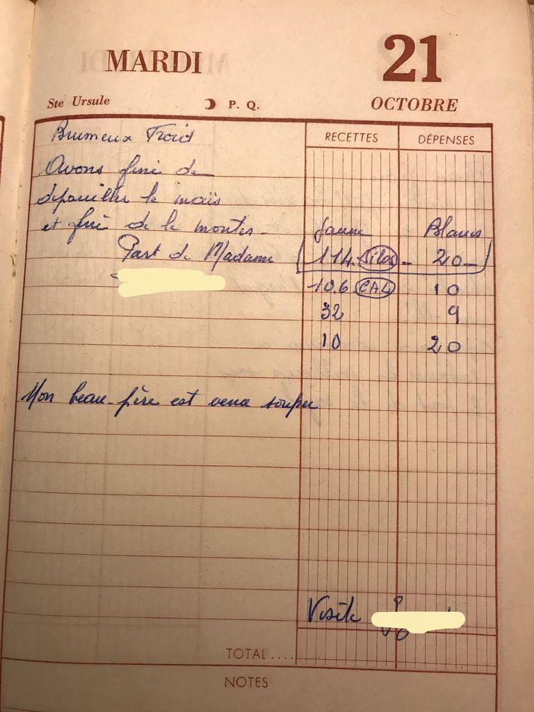 Mardi 21 octobre 1958 - dépouiller le maïs