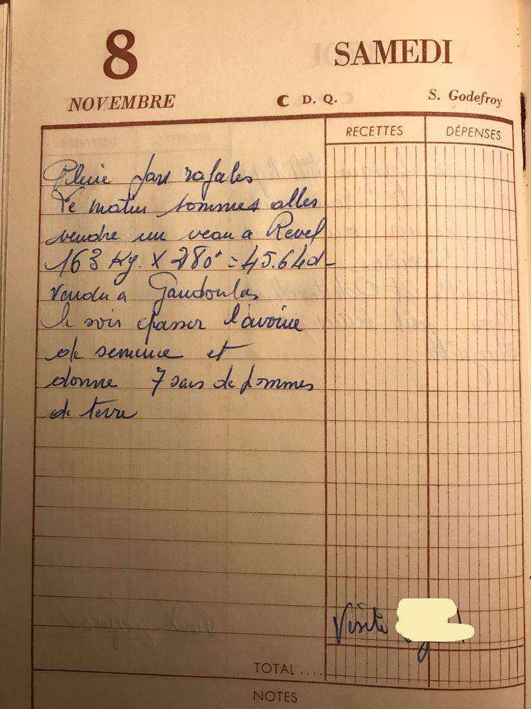 Samedi 8 novembre 1958 - Vendre un veau à Revel