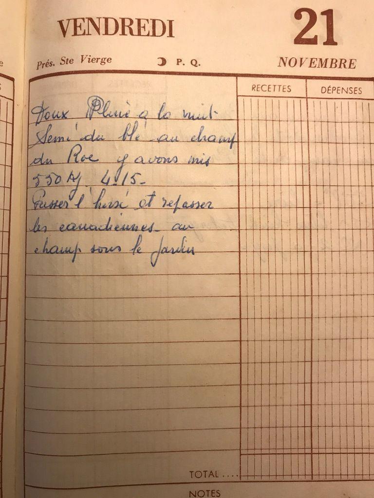 Vendredi 21 novembre 1958 -  les semis continuent