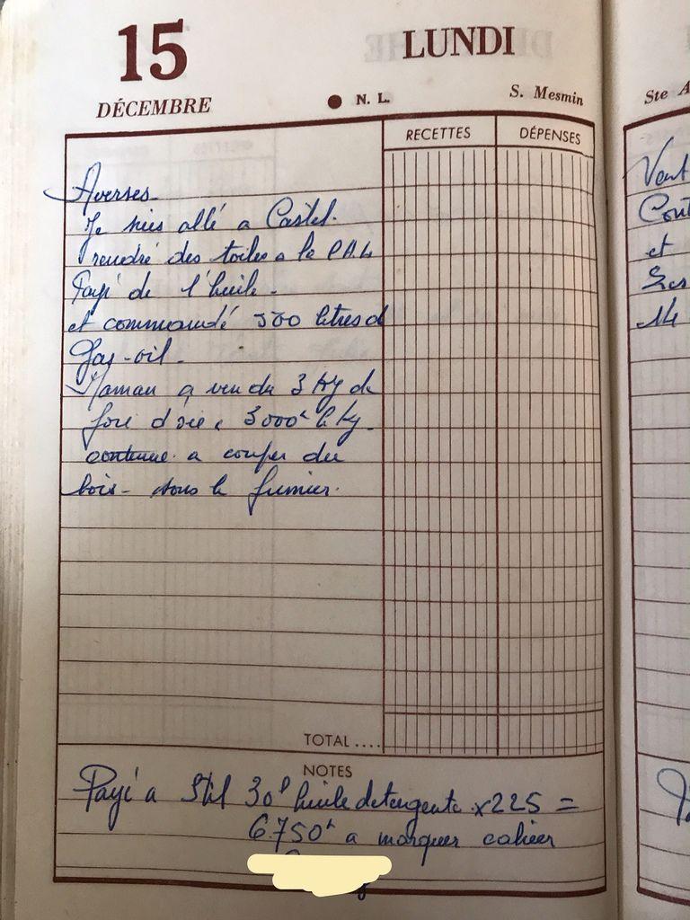 Lundi 15 décembre 1958 - de l'huile, du gasoil, des toiles