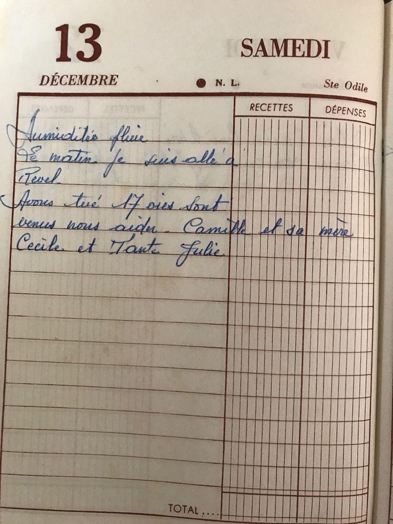 Samedi 13 décembre 1958 - 17 oies
