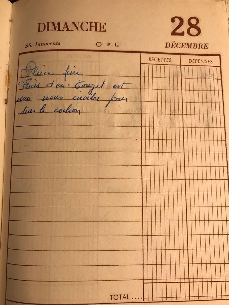 Dimanche 28 décembre 1958 - une invitation