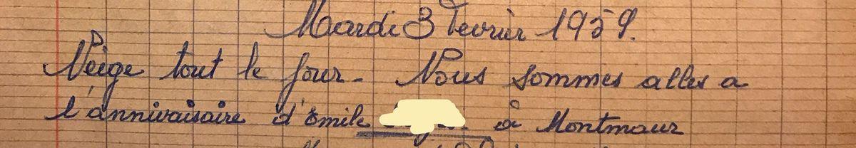 Mardi 3 février 1959 - Tristes flocons