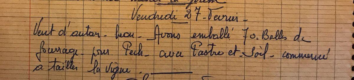 Vendredi 27 février 1959 - tailler la vigne