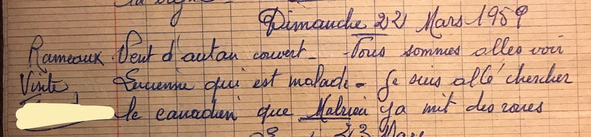 Dimanche 22 mars 1959 - Lucienne est malade le jour des Rameaux