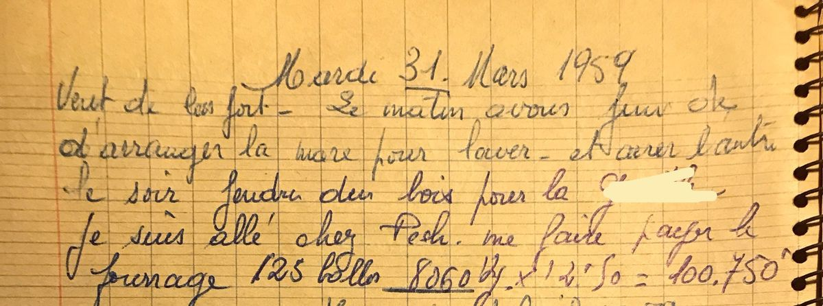 Mardi 31 mars 1959 - arranger les mares