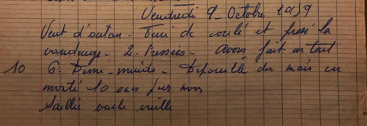 Vendredi 9 octobre 1959 - presser la vendange