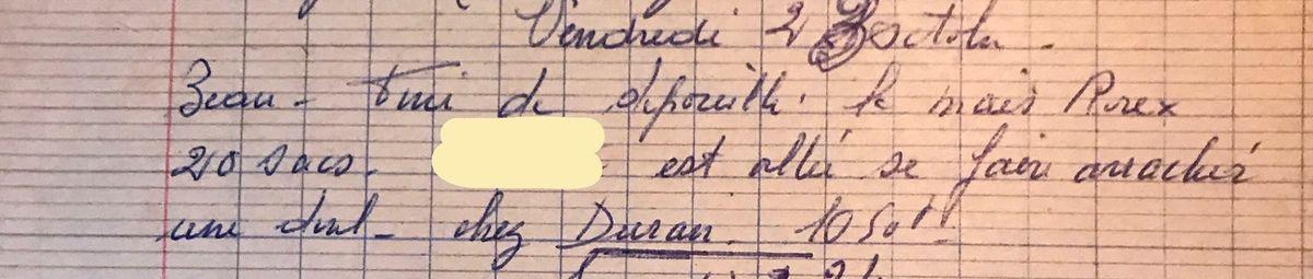 Vendredi 23 octobre 1959 - une dent arrachée