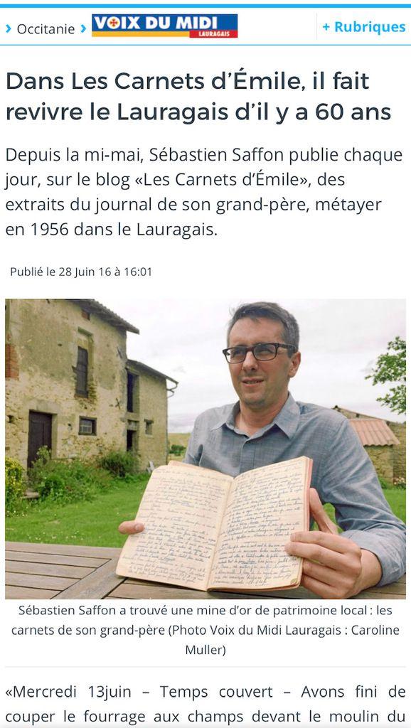 Présentation des Carnets d'Emile dans la Voix du Midi