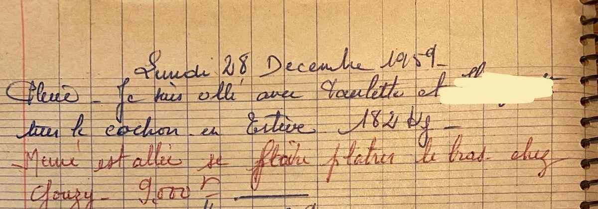 Lundi 28 décembre 1959 - un bras plâtré