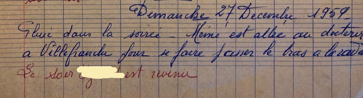 Dimanche 27 décembre 1959 - une radio du bras